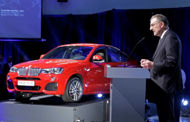 Dr. Norbert Reithofer, Chairman of the Board of Management, BMW Group, introduces the all-new BMW X4 at BMW's Commitment in the USA ceremony in Spartanburg, SC